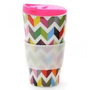 470ml Porcelain Traveller mug+pp lid+silicone