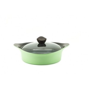 Neoflam Nature+ 28cm Low Casserole 4.5L Apple Green Induction with Glass Lid