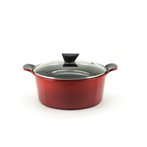 Neoflam Venn - 28cm Casserole7.00L Red Induction with Glass Lid