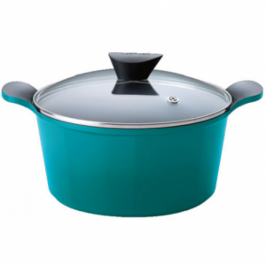 Neoflam Venn - 26cm Deep Casserole 6.50L Turquoise with Glass Lid