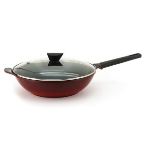 Neoflam Amie - 34cm Wok Pan Red with Glass Lid and Silicon glove Non Induction