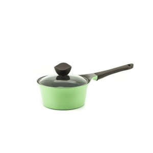 Neoflam Nature+ 18 cm Sauce Pan 2.0L Apple Green Induction with Glass Lid