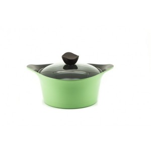 Neoflam Nature+ 24cm Casserole 4.5L Apple Green Induction with Glass Lid