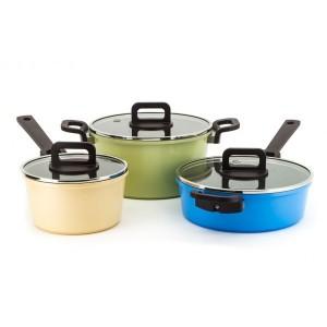 Neoflam Philos Set of 3 - 18cm Sauce Pan, 24cm Casserole, 24cm Sauté Non Induction