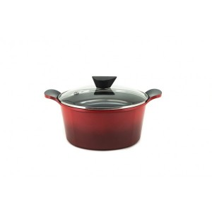 Neoflam Venn - 24cm Casserole 4.50L Red with Glass Lid