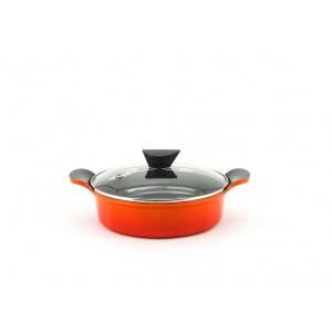 Neoflam Venn - 24cm Low casserole 2.70L Orange with Glass Lid