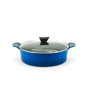 Neoflam Venn - 32cm Low Casserole 6.25L Blue with Glass Lid